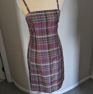 Silk Plaid Mini Dress